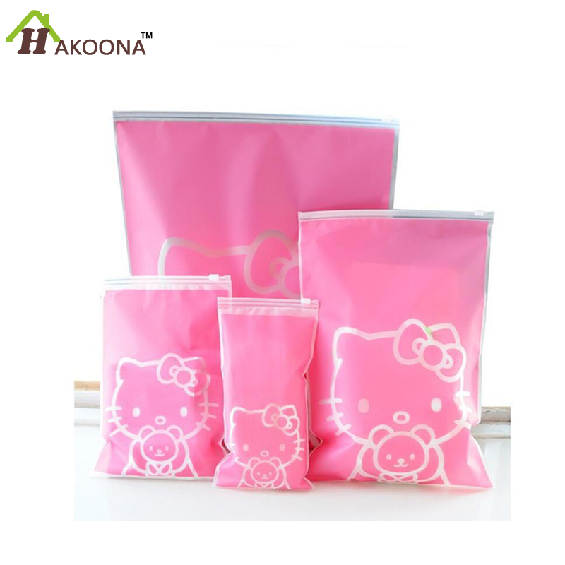 HAKOONA HOME Hello Kitty Clothing and Travel Pouch Sealed Waterproof Storage Bags for Travel Finishing Plastic Ziplock 5pcs/set(China (Mainland))
