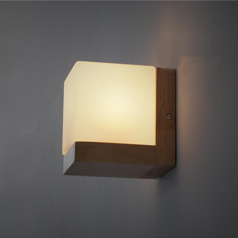 bedside wall light Picture - More Detailed Picture about Modern Oak Wood Wall Lamps Cube Sugar ...