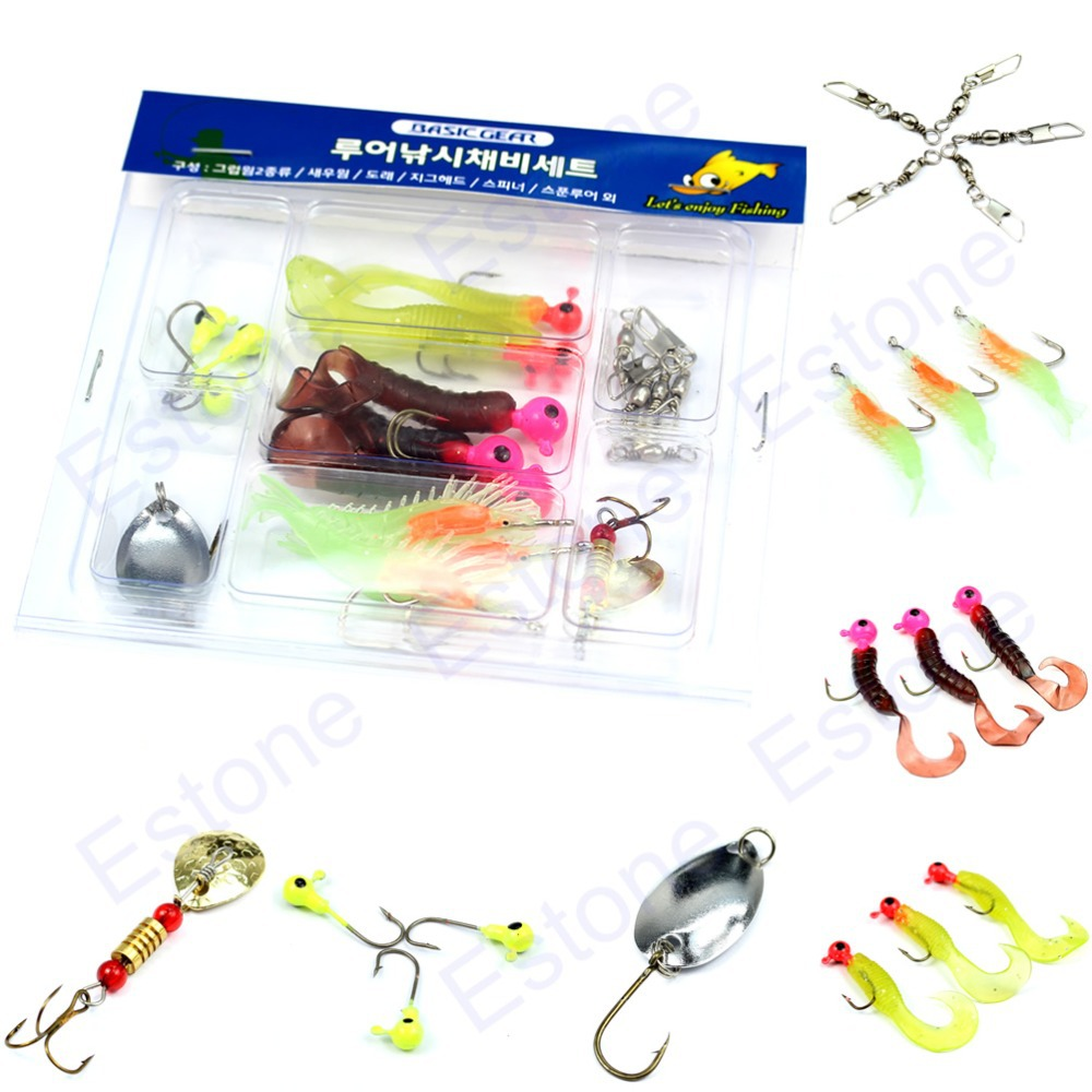1 Set 7 Grid Fishing Lures Prawn Worm Tail Jigs Hooks Swivel Pin Connector Rings(China (Mainland))