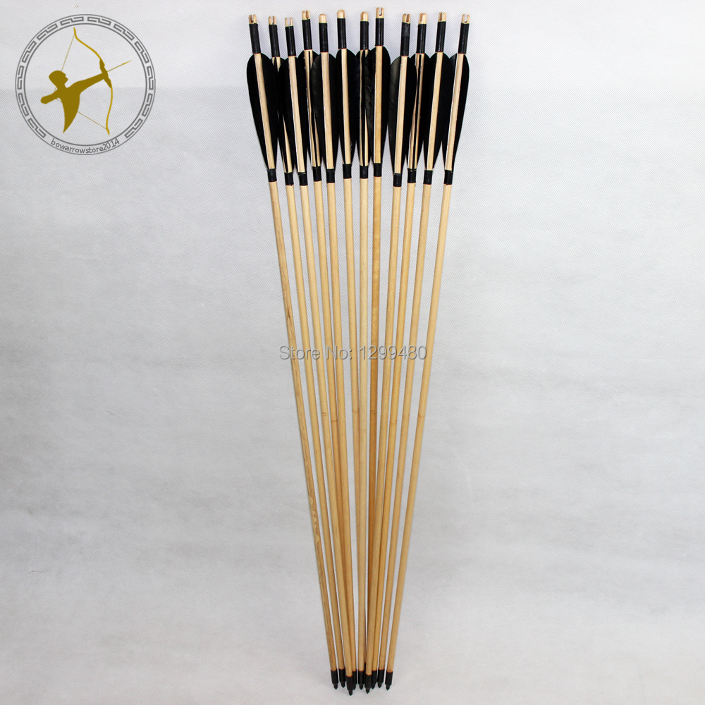 12 Pcs Free Shipping Beautiful Real Black Turkey Feather Fletching Hunting Wood Shaft Arrows Field Point