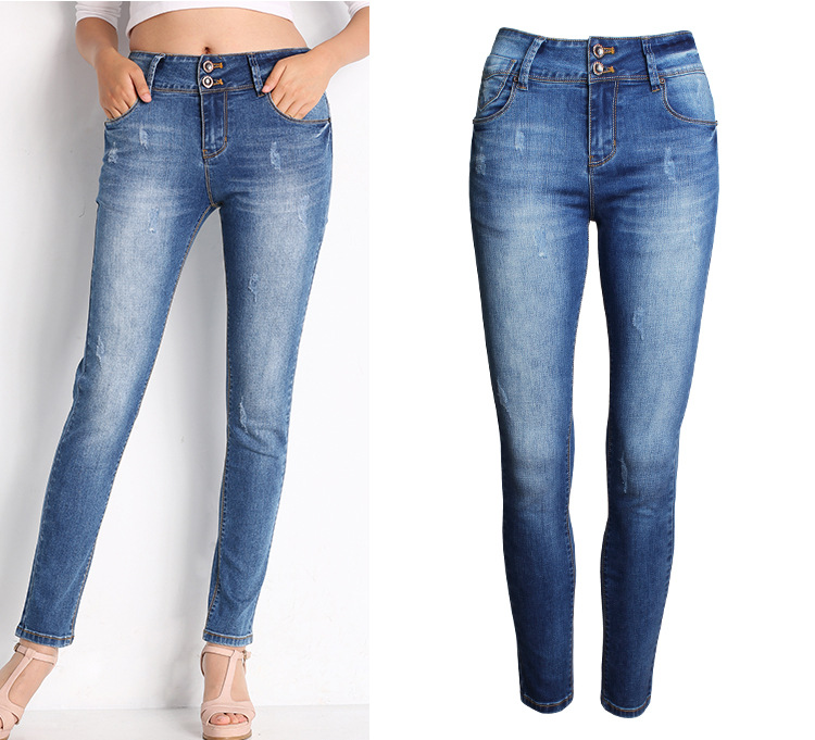 Excellent High Waist Jeans Women Skinny Ripped Jeans Denim Trousers Fashion Pencil Jean