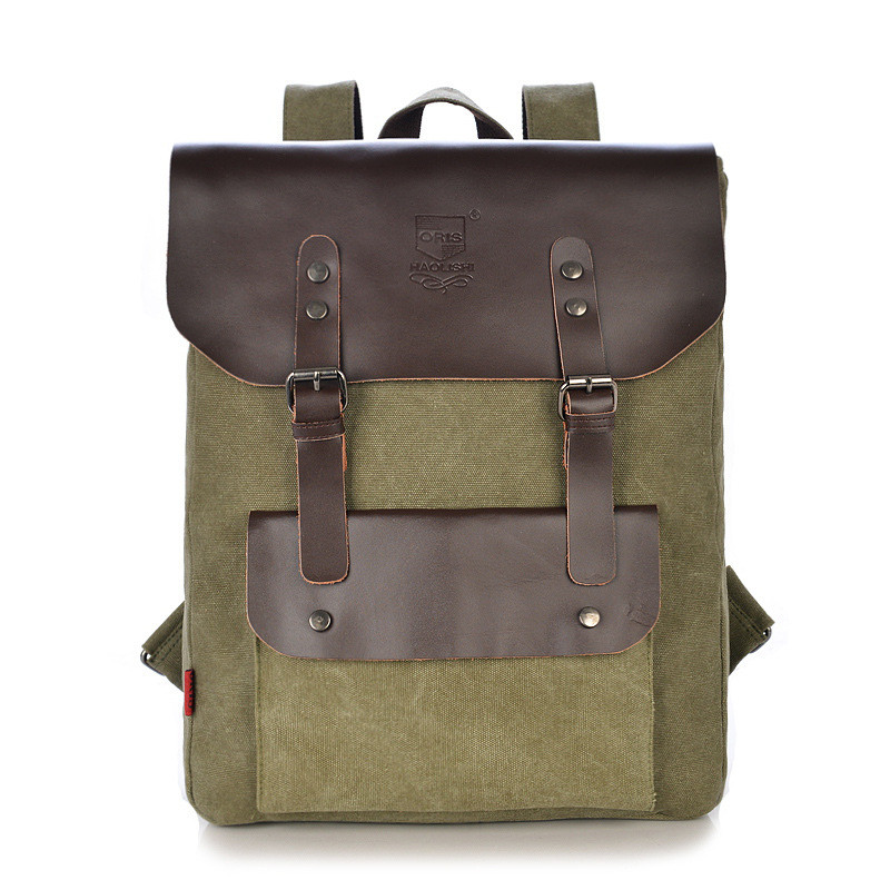 High Quality Vintage Fashion Casual Canvas +Leather Women Men Backpack Backpacks Shoulder Bag Bags For Lady Rucksack(China (Mainland))