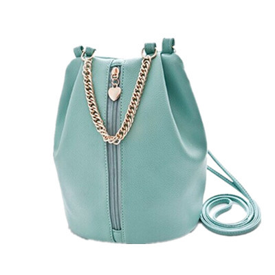 Heart Shape PU leather Candy Color Casual Shoulder Cross body bag Women messenger bag Chain Bucket Bag for Brand design Handbag(China (Mainland))