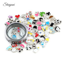 20PCS Fashion Mix Design Heart Butterfly Mickey Floating Locket Charms fit Glass Living Memory Floating Locket DIY Accessories(China (Mainland))