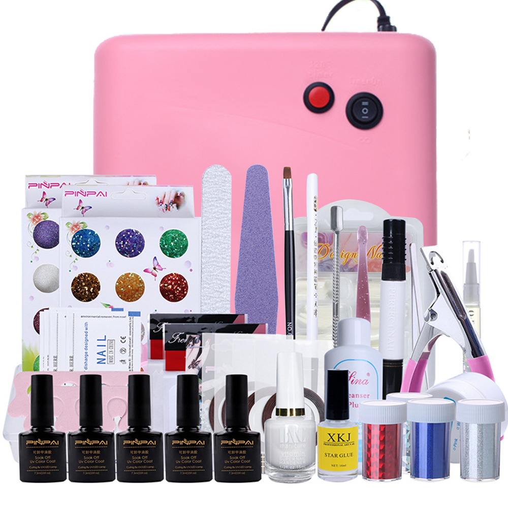 Brand Professional 36W UV GEL Pink Lamp & 12 Color UV Gel Practice Fingers Cutter Nail Art Kits DIY Tool Sets 161 Pieces Sets(China (Mainland))