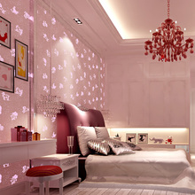 Pink luminous wallpaper roll non-woven wallcoverings fluorescent children room boy girl bedroom cartoon constellation wallpaper(China (Mainland))