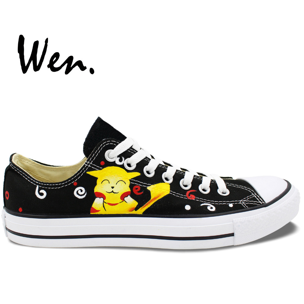 Low Top Black Sneakers Hand Painted font b Pokemon b font Pikachu Canvas font b Shoes