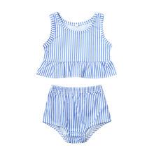 Детский купальник для девочек, купальник в полоску, бикини, одежда для маленьких девочек и мальчиков, комплект из 2 предметов, детский купаль...(China)