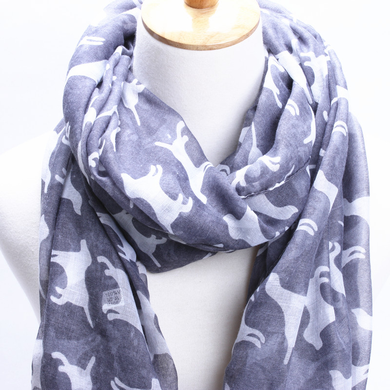 7 colors 2015 New brand winter scarf Cute puppy pattern fashion scarf women shawls and scarves Winter Warm Silk Scarf(China (Mainland))