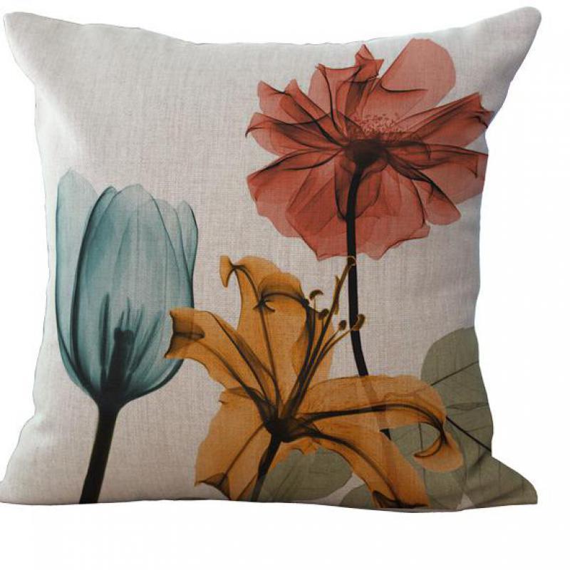 New Home Decorative Small Fresh Flowers Cotton Sofa Bed Cushion Throw Cotton Linen Square Pillow