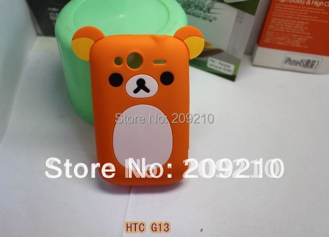 Cartoon Rilakkuma Lazy Bear Soft Back Case HTC Wildfire S G13 A510E, Retail Package,min order - Big size clothes store