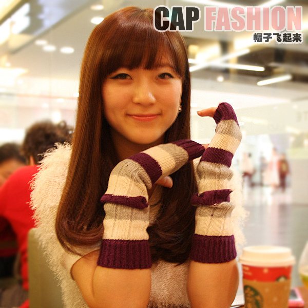Autumn and winter quality rabbit wool gloves casual wide stripe wool gloves long arm sleeve female