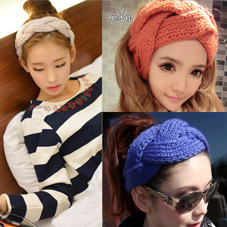 2014 free shipping New Fashion Unisex women girl men Solid color Wool knitted hair band head wear(China (Mainland))