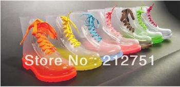 New 2015 Transparent Crystal Women Rain Boots Women's Colorful Flats Ankle Boots Rainboots Boots Jelly Multicolour Sapatos