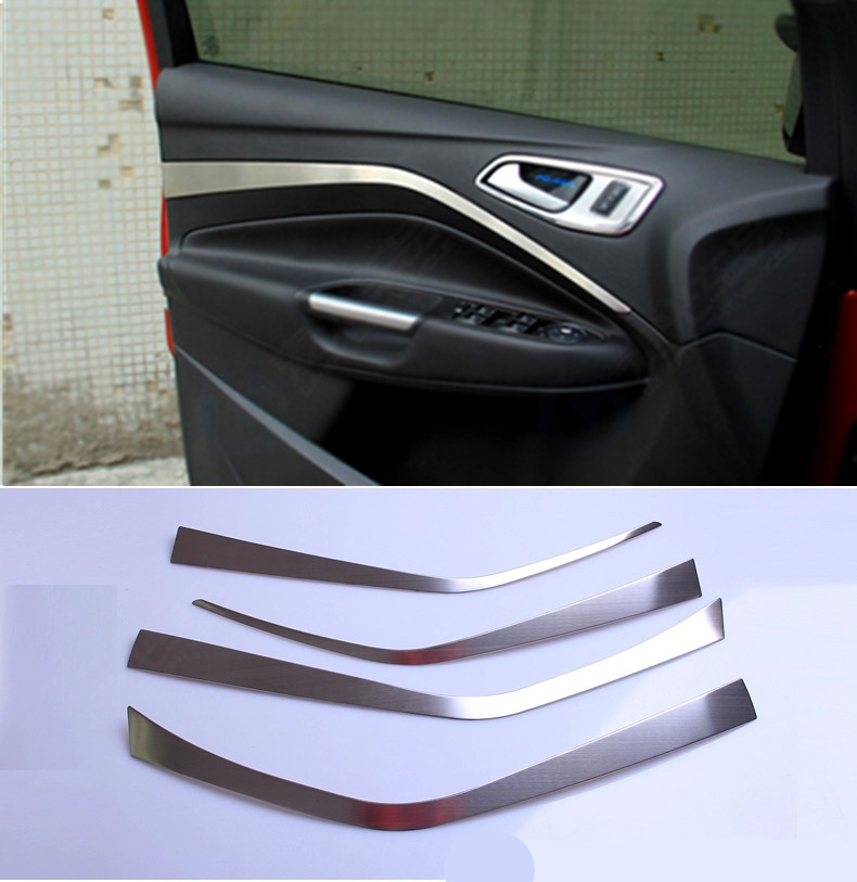 Car covers door protective light bar storage box decoration strip trim for Ford Kuga escape 2013 2014 stainless steel 4pcs(China (Mainland))