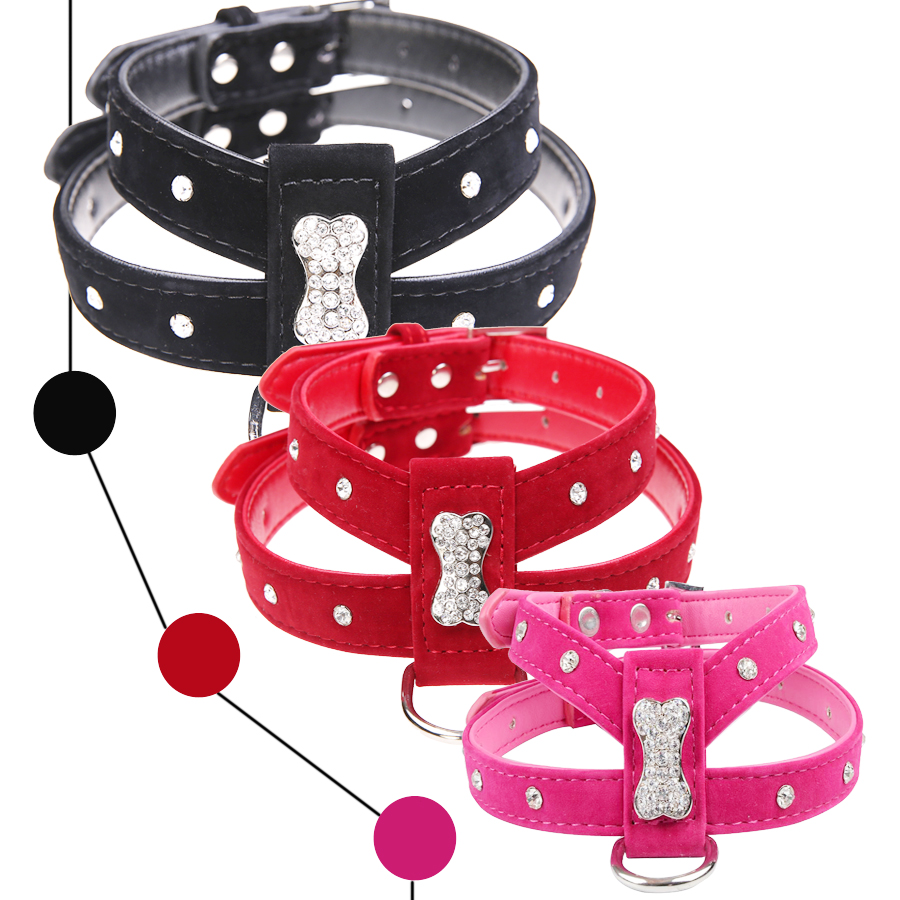 Bling Rhinestone Bone Velvet & Leather Pet Puppy Dog Collar Harness Chihuahua Teacup Care S M L Red Black Hot Pink Free Shipping(China (Mainland))