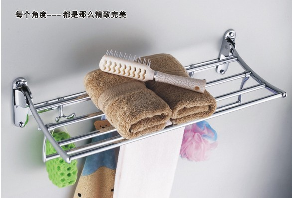 Free shipping 304 thickening stainless steel towel rack bathroom towel shelf double tier folding function