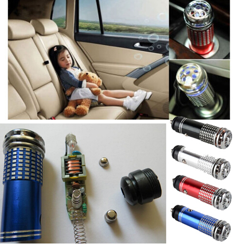 Free Shipping 4pcs/lot 12V Mini Auto Car Fresh Air Ionic Purifier Oxygen Bar Ozone Ionizer Cleaner(China (Mainland))