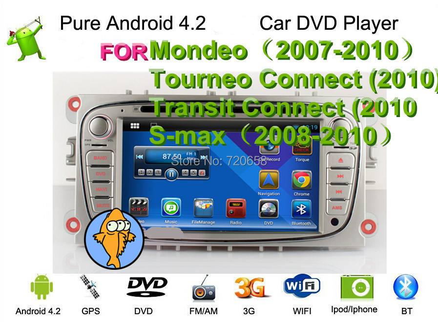 Pure Android 4.2 2 din car DVD Fit Mondeo 07-10 Tourneo Connect Transit 10 S-max 08-10 WIFI Radio GPS map - Jiangsu Kaichuang Auto Parts CO.,LTD. store