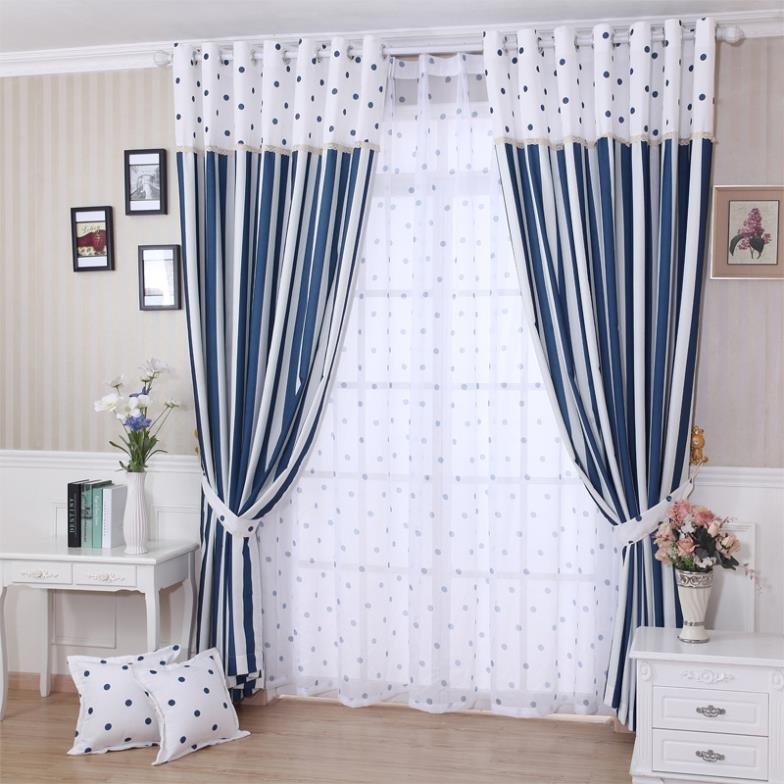 Free shipping sea blue custom modern minimalist bay - Modern bay window curtains ...