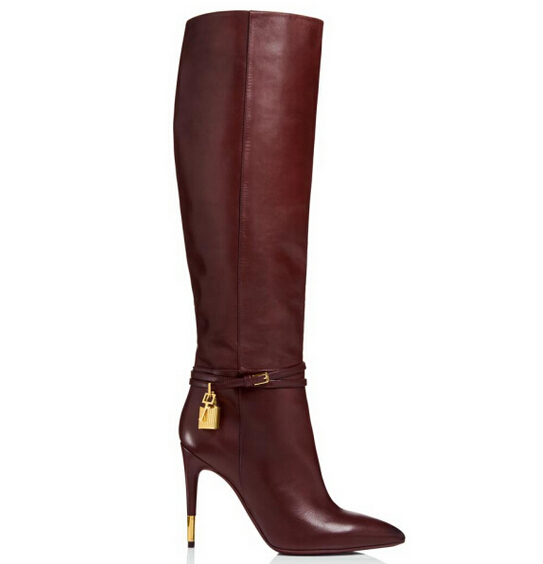 Women luxurious boots wine red black gold metal heel pointed toe knee-high boots ankle buckle strap gold padlock decoration<br><br>Aliexpress