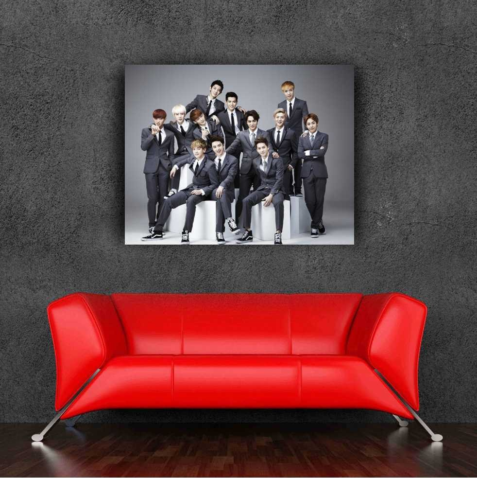 2015 Newest exo korean wall sticker band poster 60x65cm,24x25.6Inch removable wall sticker for living room(China (Mainland))