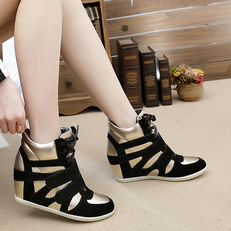 Women Genuine Leather Wedges Sneakers Lady Spring Autumn Lace Up High Top Buckle Casual Shoes Plus Size 34-41 SXQ0629(China (Mainland))