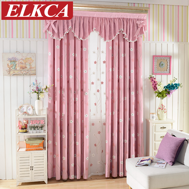 Floral Embroidered Pink Curtains for Living Room Princess Window Curtains for