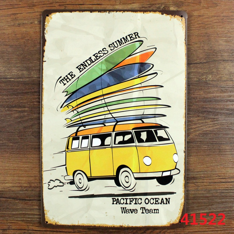 NEW Vintage home wall decor metal poster print craft decoration Tin sign retro painting THE ENDLESS SUMMER PACIFIC OCEAN WAVE(China (Mainland))