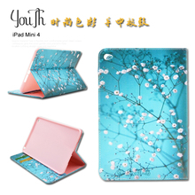 for Ipad Mini 4 Tablet Case 7.9 inch Printed Paint Flowers Animal Leather Colorful for Apple ipad mini4 Protective Tablet Cover(China (Mainland))
