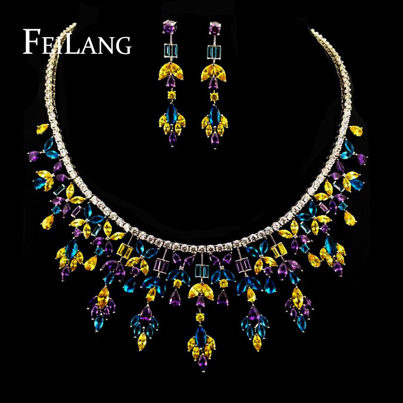 FEILANG White Gold Plated Luxury Necklace And Earring Wedding Jewelry Sets with Multicolor AAA+ CZ Cubic Zircon (FSSP165)<br><br>Aliexpress