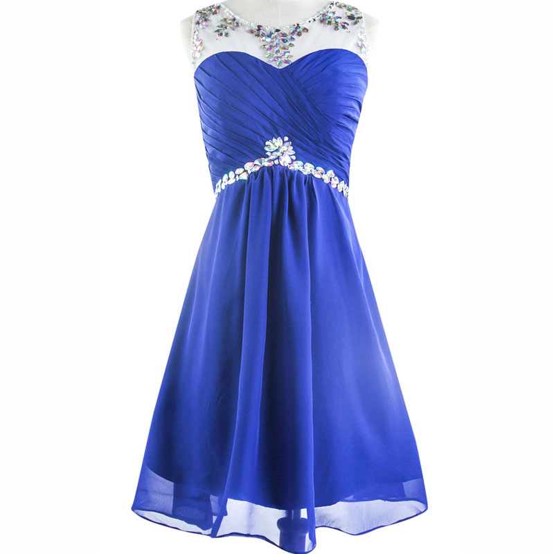 Hot sale short royal blue bridesmaid dresses 2015 crystals for Royal blue short wedding dresses