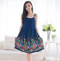 Women Cotton Nightgown Floral Sleep Dress Sleeveless Sleep Shirt Plus Size Night Shirt Sexy Nightwear Casual