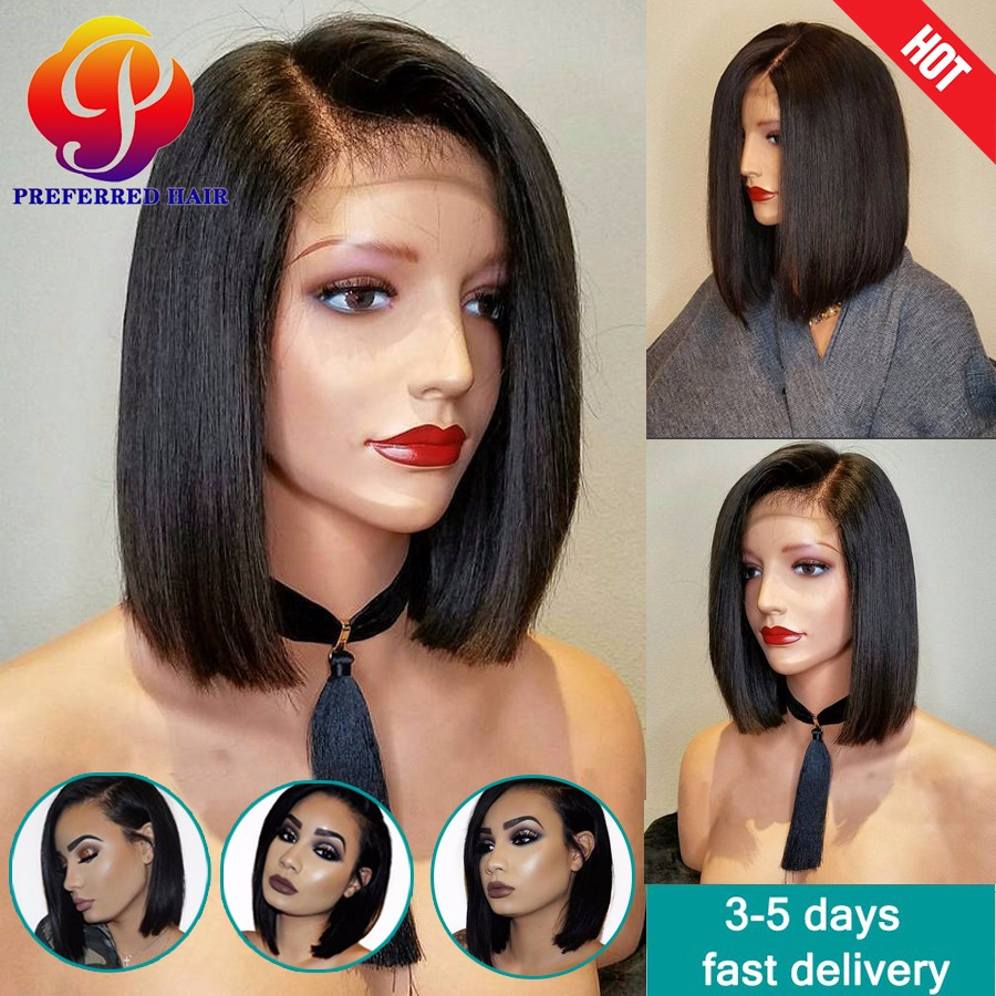9A Pixie Cut Human Hair Wigs Short Bob Full Lace Wigs For Black Women Virgin Bob Style Lace Front Human Hair Wigs With Baby Hair