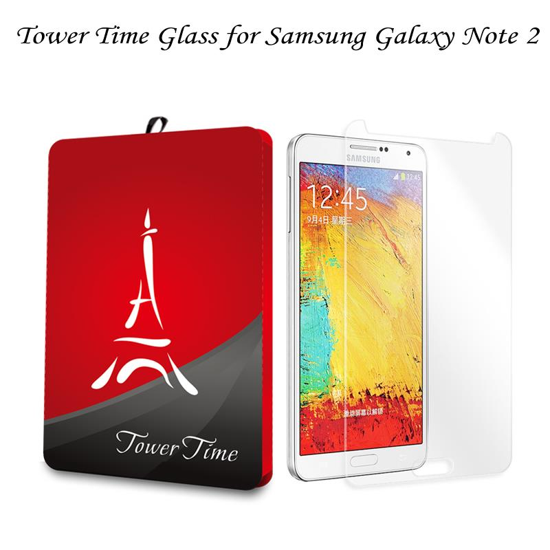 TOWER TIME Tempered Glass Film Explosion Proof Screen Protector for Samsung Galaxy Note 2 II N7100 N7105 Protective Film(China (Mainland))