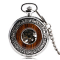 Casual Wood Style Circle Special Design Carving Mechanical Hand winding Pocket Watch Classic Silver Retro Stylish