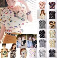 New Womens Summer Bird Print Heart Design  Geometric Polka Dot Cute Loose Chiffon Short Sleeve Top T-shirt(China (Mainland))