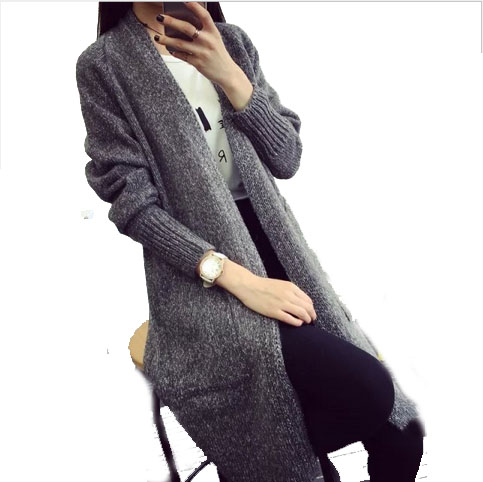 NEW free shipping Wool knitting cardigan warm winter sweater women fashion pull femme Pure color long women cardigan sweater(China (Mainland))