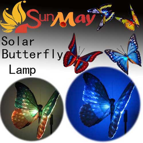 Solar Power Butterfly Flower Light 7Color Outdoor garden Path Yard Lawn Landscape Lamp For Decoration Christmas Festive 4pcs/lot(China (Mainland))