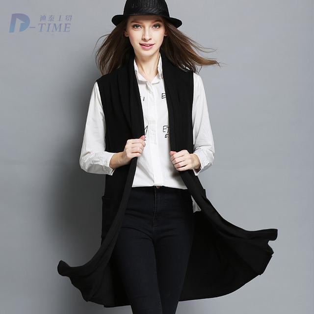 XL-XXXL плюс размер 2016 весна женщин черный жилет долго дизайн женская мода рукавов ...