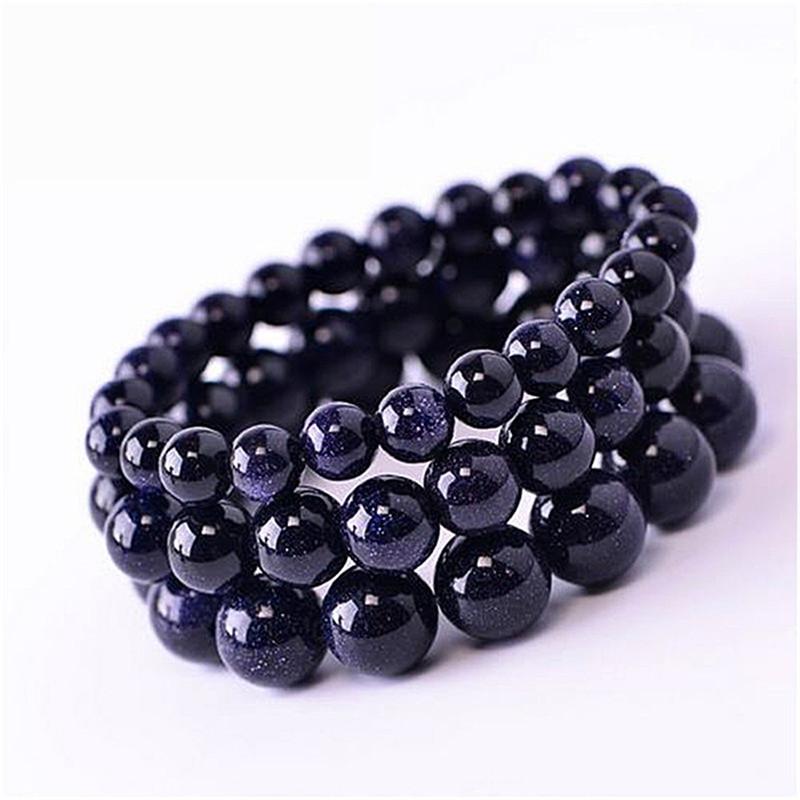 Suti 5PCS/SET 6mm/8mm/10mm/12mm/14mm Blue Sandstone Beads Bracelets Gifts Natural Stones Bracelet Set For Men&Women(China (Mainland))