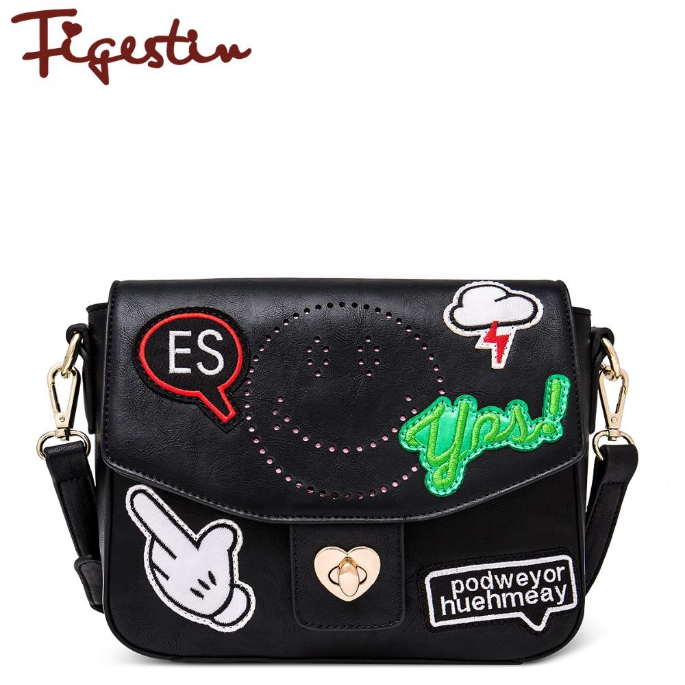 FIGESTIN 2016 Girls Leather Messenger Bag Original Design High Quality Cool Punk Street Style Flap Shoulder Crossbody Bags(China (Mainland))