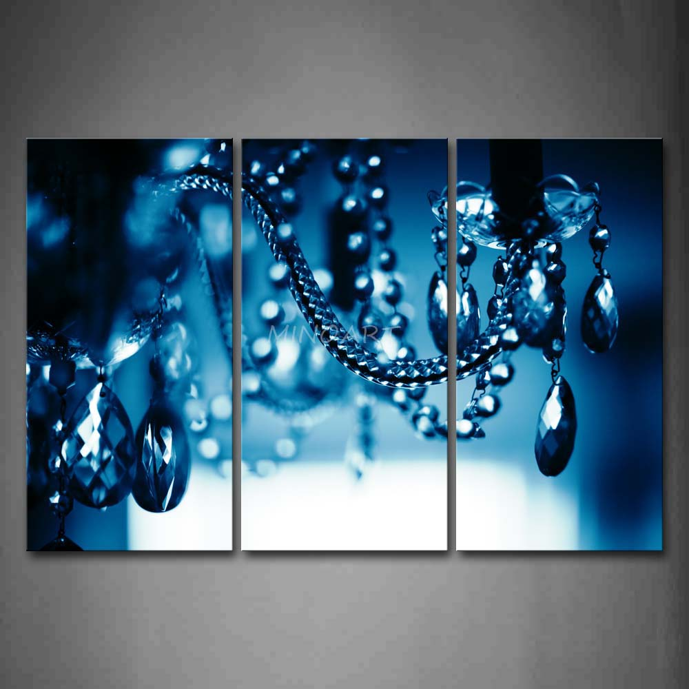 3 piece wall art painting chandelier blue dark picture for 3 piece wall art