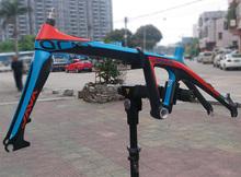 "JAVA Air 451 20"" 1 1/8"" Carbon Frame Fork Mini Velo Folding Bike Frameset C/Disc Brake Blue&orange(China (Mainland))"