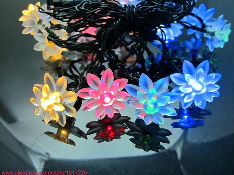 solar LED lotus light string-6