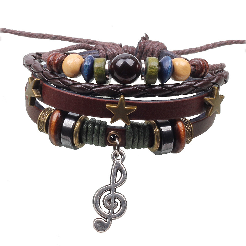 Popular Music Handmade Multilayer Charm bracelet accessories cowhide Adjustable Leather Bracelets Unisex male punk - Time Wood's store
