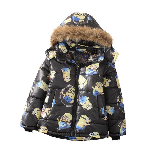 Новые марка Мультфильм зимой вниз пальто ребенок мужского пола короткая конструкция утолщение детская одежда baby дети пуховик парки 3-8 Y