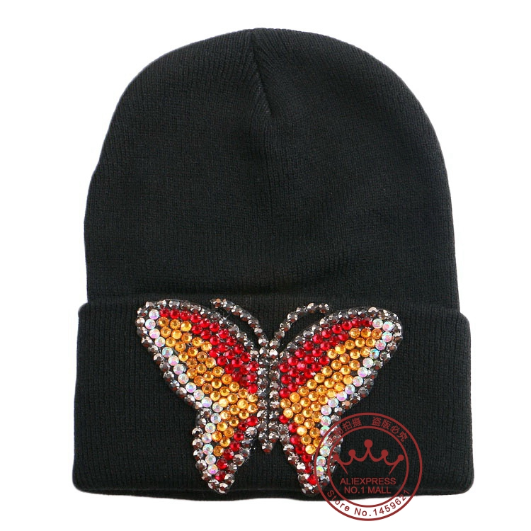 New 2016 Fashion Winter Hat woman Beanie Knitted Casual Caps bone Twist Hats  women man Feminine Butterfly Black Cap f09826f7c467