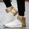 2016 Men Black White Genuine Leather Brand High Top Red Bottom Casual Shoes Men Flats Loubuten