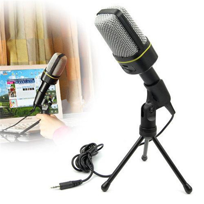 Cheap Studio Condenser Microphone Stand 3.5mm Wired Holder Clip Retro Mini Handheld Style Desktop Microphone for Computer Pc(China (Mainland))